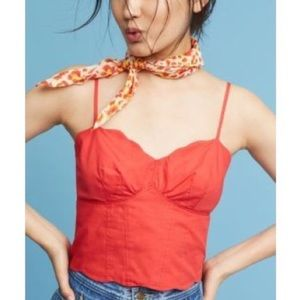 Anthropologie Maeve Crop Top Scallop Red Size 12
